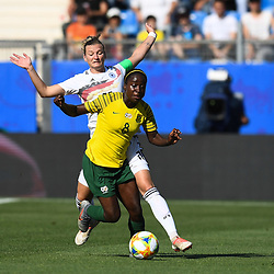 Ode Fulutudilu of South Africa and Alexandra Popp of Germany  during the Women's World Cup match between Germany and South Africa at Stade de la Mosson on June 17, 2019 in Montpellier, France. (Photo by Alexandre Dimou/Icon Sport)