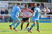 Exeter City's Lee Holmes during the Sky Bet League 2 match between Exeter City and Morecambe at St James' Park, Exeter, England on 30 April 2016. Photo by Graham Hunt.