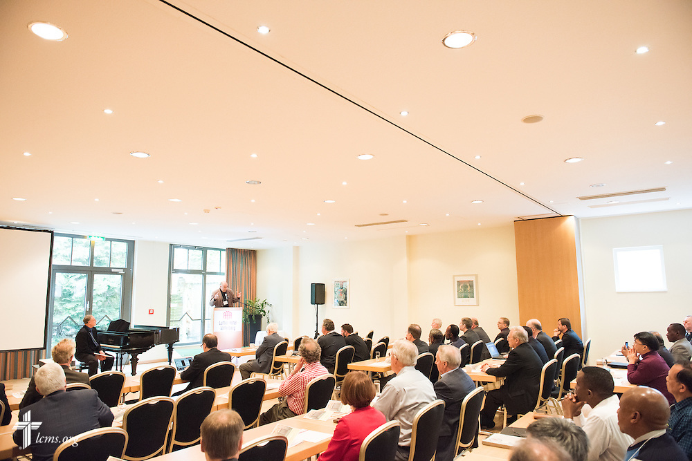 Bishop Hans-Jörg Voigt of the Independent Evangelical Lutheran Church (SELK) welcomes church leaders Tuesday, May 5, 2015, at the International Conference on Confessional Leadership in the 21st Century in Wittenberg, Germany. LCMS Communications/Erik M. Lunsford