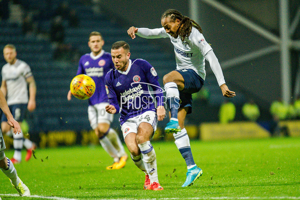 Preston North End Daniel Johnson (11) shots non goal during the EFL Sky Bet Championship match between Preston North End and Sheffield Utd at Deepdale, Preston, England on 16 December 2017. Photo by Michał Karpiczenko.