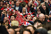 Lincoln City supporters celebrate winning the Checkatrade Trophy during the EFL Trophy Final match between Lincoln City and Shrewsbury Town at Wembley Stadium, London, England on 8 April 2018. Picture by Stephen Wright.