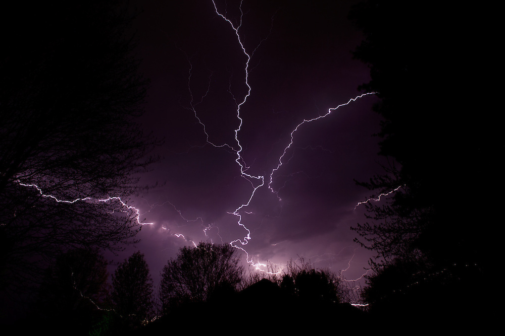 Multiple lightning bolts strike over Fulton, KY.