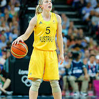 09 August 2012: Australia Samantha Richards brings the ball upcourt during 86-73 Team USA victory over Team Australia, during the women's basketball semi-finals, at the 02 Arena, in London, Great Britain.