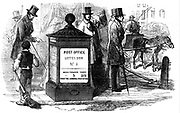 One of the first letter boxes erected in London at the corner of Fleet Street and Farringdon Street. Wood engraving from 'The Illustrated London News', 24 March 1855.
