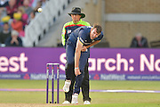 David Masters following through during the Natwest T20 Blast quarter final match between Nottinghamshire County Cricket Club and Essex County Cricket Club at Trent Bridge, West Bridgford, United Kingdom on 8 August 2016. Photo by Simon Trafford.