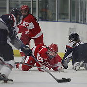 Lillian Braga, Boston University, watches play after falling during the UConn Vs Boston University, Women's Ice Hockey game at Mark Edward Freitas Ice Forum, Storrs, Connecticut, USA. 5th December 2015. Photo Tim Clayton