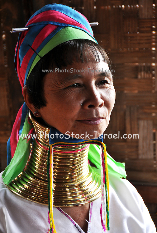 Portrait of a Padaung woman with neck rings, Myanmar