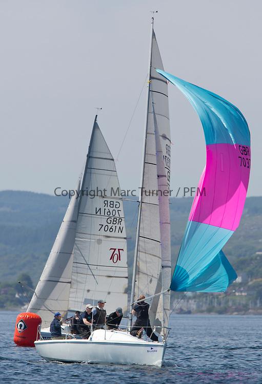 Silvers Marine Scottish Series 2017<br /> Tarbert Loch Fyne - Sailing<br /> <br /> GBR7037N, Blue Funk, Neil McLure, Port Edgar YC, Hunter 707<br /> <br /> Credit Marc Turner / PFM