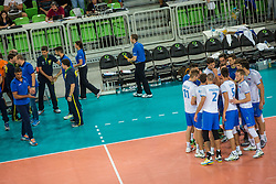 Team Slovenia during friendly volleyball match between national teams of Slovenia and Brasil in Arena Stozice on 9. September 2015 in , Ljubljana, Slovenia. Photo by Grega Valancic / Sportida