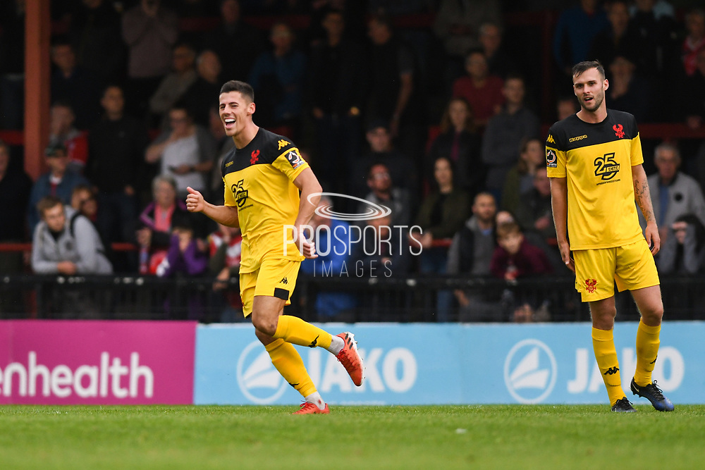 Ed Williams of Kidderminster Harriers (11) scores a goal and celebrates to make the score 0-2, his second goal of the game, during the Vanarama National League match between York City and Kidderminster Harriers at Bootham Crescent, York, England on 15 September 2018.