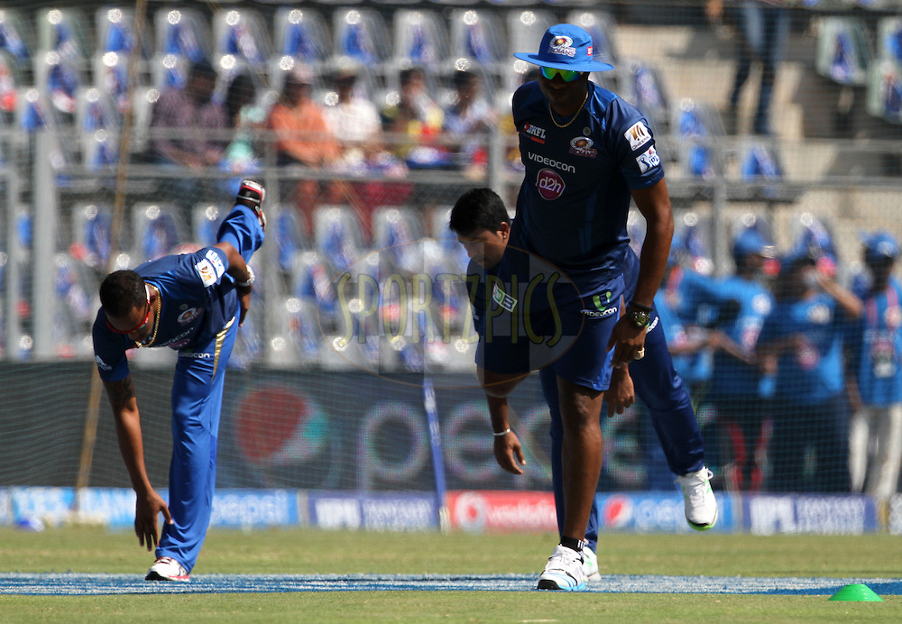 Mumbai Indians players during the practise session of the match 22 of the Pepsi Indian Premier League Season 2014 between the Mumbai Indians and the Kings XI Punjab held at the Wankhede Cricket Stadium, Mumbai, India on the 3rd May  2014<br /> <br /> Photo by Vipin Pawar / IPL / SPORTZPICS<br /> <br /> <br /> <br /> Image use subject to terms and conditions which can be found here:  http://sportzpics.photoshelter.com/gallery/Pepsi-IPL-Image-terms-and-conditions/G00004VW1IVJ.gB0/C0000TScjhBM6ikg