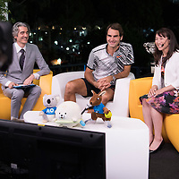 Roger Federer of Switzerland during tv interviews after the men's final on day fourteen of the 2017 Australian Open at Melbourne Park on January 29, 2017 in Melbourne, Australia.<br /> (Ben Solomon/Tennis Australia)