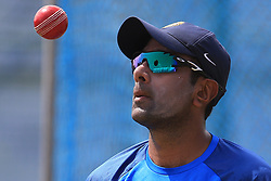 July 25, 2017 - Galle, Sri Lanka - Indian cricketer Ravichandran Ashwin tosses the ball during  a practice session ahead of the 1st test match between Sri Lanka and India at Galle International cricket stadium, Galle, Sri Lanka on Tuesday 25 July 2017. (Credit Image: © Tharaka Basnayaka/NurPhoto via ZUMA Press)