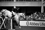 "07/08/1987<br /> 08/07/1987<br /> 07 August 1987<br /> Bank of Irelands Nations Cup for the Aga Khan trophy competition. Jack Doyle (Ireland) on "" Hardly""."