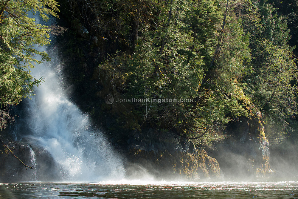Waterfall in Green Inlet Marine Provincial Park, British Columbia.