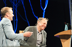 © Licensed to London News Pictures. 28/05/2016. Hay-on-Wye, Powys, Wales, UK. Samuel Johnson prize-winning author James Shapiro (R) talks to Jerry Brotton. Fine weather on the third day of the Hay Festival at Hay-on-Wye, Wales. Photo credit: Graham M. Lawrence/LNP