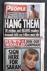 The NEWS OF THE WORLD and The SUNDAY PEOPLE naming Sex Offenders, July 30, 2000. Photo by Andrew Parsons/i-Images.