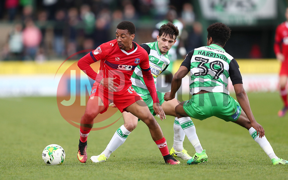 Reggie Lambe of Carlisle United gets away from Shayon Harrison of Yeovil Town - Mandatory by-line: Gary Day/JMP - 01/04/2017 - FOOTBALL - Huish Park - Yeovil, England - Yeovil Town v Carlisle United - Sky Bet League Two