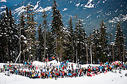 Fans look on during the Men's Downhill during the 2010 Vancouver Winter Olympics at Whistler Creekside in Whistler, British Columbia, Monday, Feb. 15, 2010.