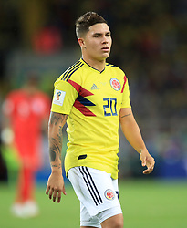 Colombia's Juan Fernando Quintero during the FIFA World Cup 2018, round of 16 match at the Spartak Stadium, Moscow. PRESS ASSOCIATION Photo. Picture date: Tuesday July 3, 2018. See PA story WORLDCUP England. Photo credit should read: Adam Davy/PA Wire. RESTRICTIONS: Editorial use only. No commercial use. No use with any unofficial 3rd party logos. No manipulation of images. No video emulation