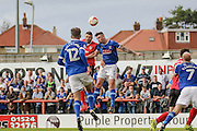 Carlisle United Michael Raynes clears the header during the EFL Sky Bet League 2 match between Morecambe and Carlisle United at the Globe Arena, Morecambe, England on 8 October 2016. Photo by Pete Burns.