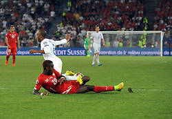 England's Fabian Delph (Aston Villa) goes down under the challenge of Switzerland's Johan Djourouin the penalty area  - Photo mandatory by-line: Joe Meredith/JMP - Mobile: 07966 386802 - 08/09/14 - SPORT - FOOTBALL - Switzerland - Basel - St Jacob Park - Switzerland v England - Uefa Euro 2016 Group E Qualifier