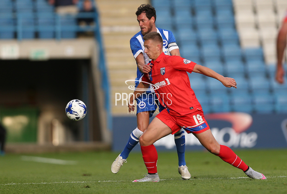 Luke Norris during the Pre-Season Friendly match between Gillingham and Brighton and Hove Albion at the MEMS Priestfield Stadium, Gillingham, England on 29 July 2015.