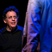"April 9, 2011 - Manhattan, NY : American composer Philip Glass, accompanied by Hal Willner (not pictured), performed on the piano during the Japan Society's 12-hour-long special ""Concert For Japan"" charity event on Saturday.  (This was taken during the 1-2:20pm Gala Block)... CREDIT: Karsten Moran for The New York Times."