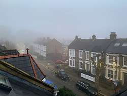 © Licensed to London News Pictures. 09/11/2019. London, UK. Houses shrouded in thick fog on a freezing morning in Kensal Rise, north west London. Large parts of the North of England have suffered heavy flooding following torrential rain. Photo credit: Ben Cawthra/LNP
