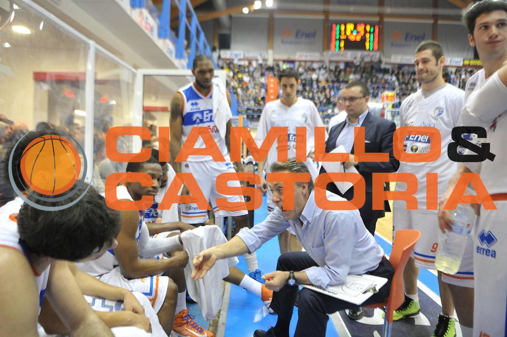 DESCRIZIONE : Brindisi Lega A 2012-13 Enel Brindisi Montepaschi Siena<br /> GIOCATORE : Piero Bucchi<br /> CATEGORIA : Time Out<br /> SQUADRA : Enel Brindisi<br /> EVENTO : Campionato Lega A 2012-2013 <br /> GARA : Enel Brindisi Montepaschi Siena<br /> DATA : 28/01/2013<br /> SPORT : Pallacanestro <br /> AUTORE : Agenzia Ciamillo-Castoria/V.Tasco<br /> Galleria : Lega Basket A 2012-2013  <br /> Fotonotizia : Brindisi Lega A 2012-13 Enel Brindisi Montepaschi Siena