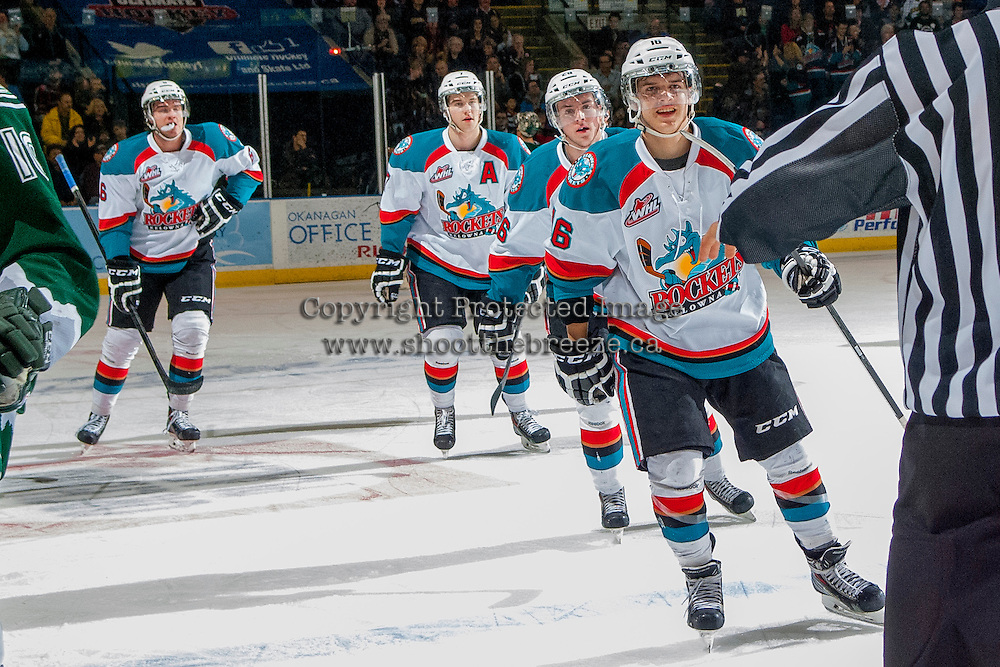 KELOWNA, CANADA - JANUARY 22: The # of the Kelowna Rockets celebrate a goal against the Everett Silvertips on January 22, 2014 at Prospera Place in Kelowna, British Columbia, Canada.   (Photo by Marissa Baecker/Getty Images)  *** Local Caption *** Kris Schmidli; Cole Linaker; Damon Severson;