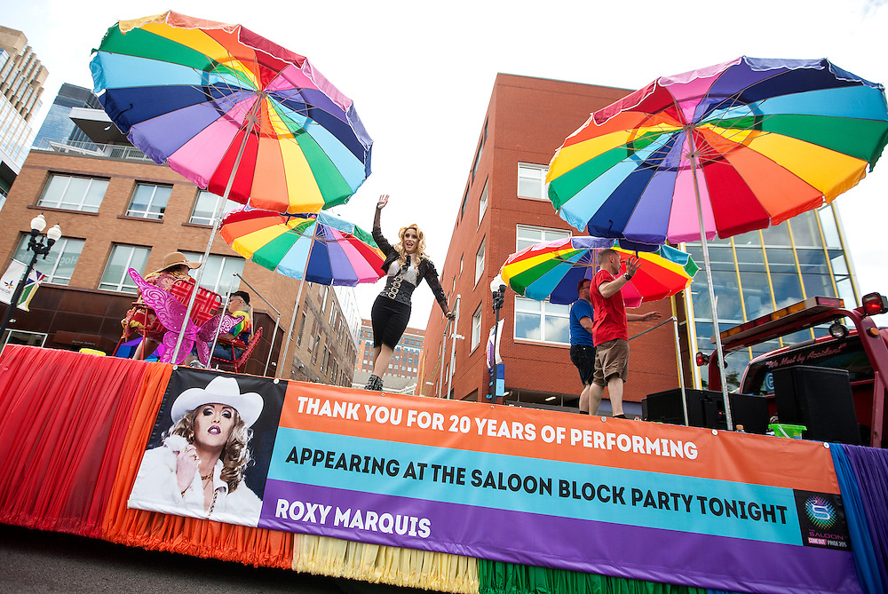 Roxy Marquis waves to the crowd while channeling Madonna during the 2015 Ashley Rukes GLBT Pride Parade in Minneapolis June 28, 2015.