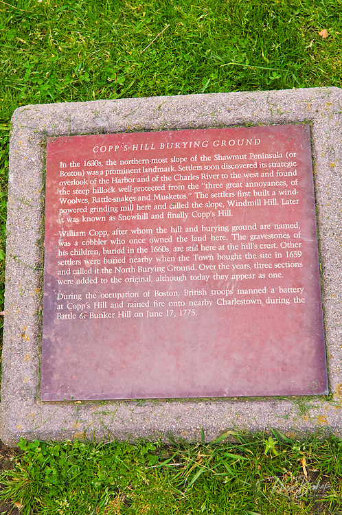 Plaque at Copp's Hill Burying Ground on the Freedom Trail, Boston, Massachusetts