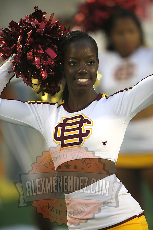 A Bethune Cookman cheerleader dances during the Florida Classic NCAA football game between the FAMU Rattlers and the Bethune Cookman Wildcats at the Florida Citrus bowl on Saturday, November 22, 2014 in Orlando, Florida. (AP Photo/Alex Menendez)