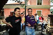 Verbicaro, Italia - 4 giugno 2011. Disoccupati ritratti nel centro del paese di Verbicaro in Calabria..Ph. Roberto Salomone Ag. Controluce