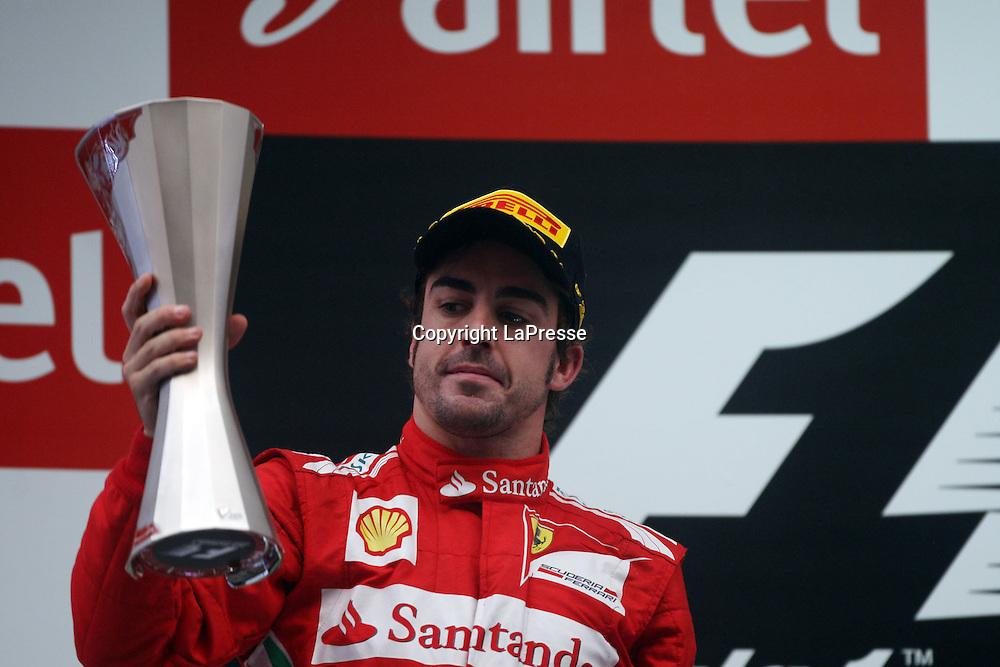 &copy; Photo4 / LaPresse<br /> 28/10/2012 Noida, India<br /> Sport <br /> Indian Grand Prix, Noida 25-28 October 2012<br /> In the pic: 2nd position Fernando Alonso (ESP), Scuderia Ferrari, F2012