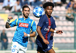 November 6, 2018 - Naples, Italy - SSC Napoli - Paris Saint-Germain : UEFA Youth League Group C ..Salvatore Micillo of Napoli and Ruben Providence of Paris Saint-Germain at Iannello Stadium in Frattamaggiore, Italy on November 6, 2018. (Credit Image: © Matteo Ciambelli/NurPhoto via ZUMA Press)