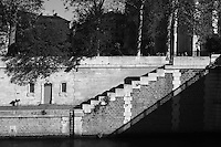 Steps along the banks of the River Seine, Paris, France<br />