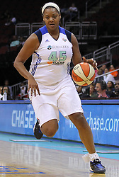June 3, 2012; Newark, NJ, USA; New York Liberty forward Kara Braxton (45) dribbles the ball during the first half at the Prudential Center.