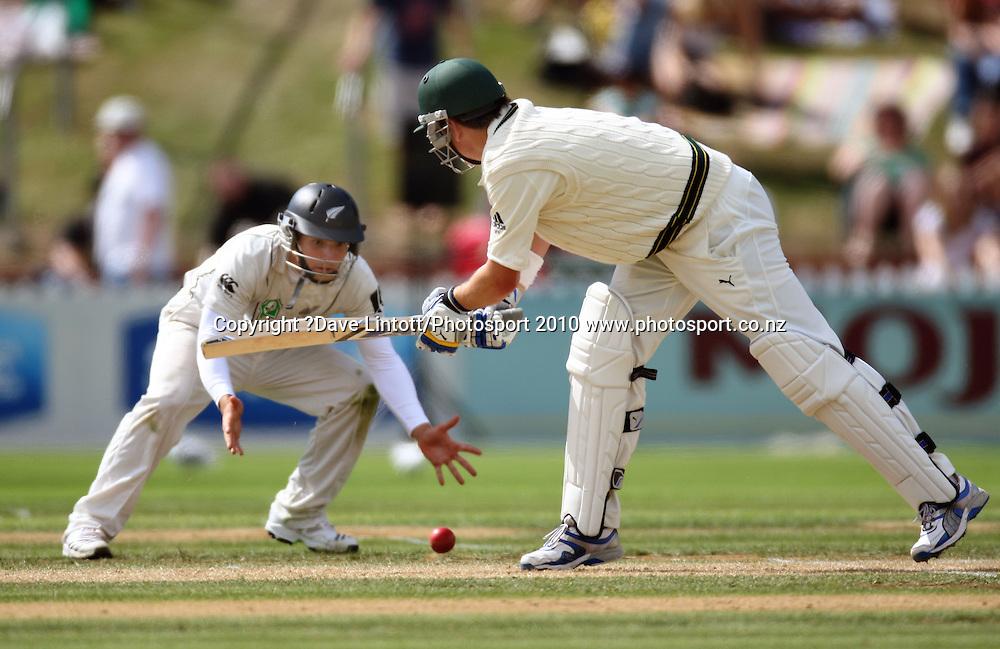 Australian batsman Marcus North plays a shot towards BJ Watling.<br /> 1st cricket test match - New Zealand Black Caps v Australia, day two at the Basin Reserve, Wellington.Saturday, 20 March 2010. Photo: Dave Lintott/PHOTOSPORT