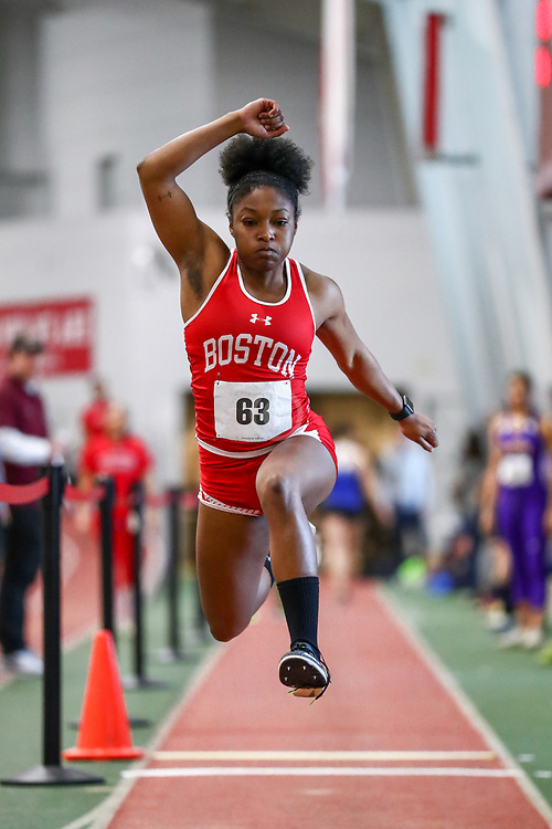 womens triple jump, BU, Lovie Burleson<br /> Boston University Scarlet and White<br /> Indoor Track & Field, Bruce LeHane
