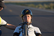 Barbara Buatois na de finish op de eerste wedstrijdavond van de World Human Powered Speed Challenge. In de buurt van Battle Mountain, Nevada, strijden van 10 tot en met 15 september 2012 verschillende teams om het wereldrecord fietsen tijdens de World Human Powered Speed Challenge. Het huidige record is 133 km/h.<br />