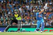 Virat Kohli hits out, over cover. T20 international, Australia v India. Sydney Cricket Ground, NSW, Australia, 25 November 2018. Copyright Image: David Neilson / www.photosport.nz