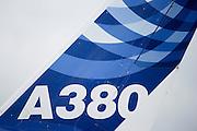 France, Paris, Bourget Airport Salon-du-Bourget The le Bourget Air show June 2009. Airbus A380 passenger plane in flight