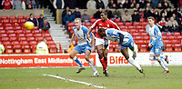 Photo: Leigh Quinnell.<br /> Nottingham Forest v Swindon Town. Coca Cola League 1. 25/02/2006. Trevor Benjamin heads in Swindons only goal of the match.
