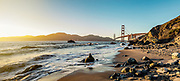 Looking towards the Marin headlands at San Francisco's Golden Gate Bridge on Marshall Beach.