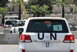 60410289 <br /> The convoy of UN investigation team leaves the Four Season hotel in Damascus, Syria, Aug. 30, 2013. The UN chemical investigation team will provide a preliminary report once they complete the probe work in Syria this weekend. The UN team, led by Swedish specialist Ake Sellstrom, was initially set to investigate the March 19 alleged chemical weapons attack on Khan al-Asal in the Aleppo region and two other sites of alleged chemical attacks. They later headed to the Damascus suburb of Ghouta, where chemical weapons were allegedly used on Aug. 21, to collect evidences, <br /> Damascus, Syria, Friday August 30, 2013.<br /> Picture by imago / i-Images<br /> UK ONLY