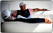JERSEY CITY, NJ - SEPTEMBER 29: Tiger Woods, Captain's Assistant of the U.S. Team in the team cabin during the second round of the Presidents Cup at Liberty National Golf Club on September 29, 2017, in Jersey City, New Jersey. (Photo by Chris Condon/PGA TOUR)