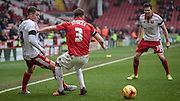 Paul Coutts (Sheffield United) flicks the ball inside of Chris Stokes (Coventry City) but is pushed to the ground in doing so during the Sky Bet League 1 match between Sheffield Utd and Coventry City at Bramall Lane, Sheffield, England on 13 December 2015. Photo by Mark P Doherty.