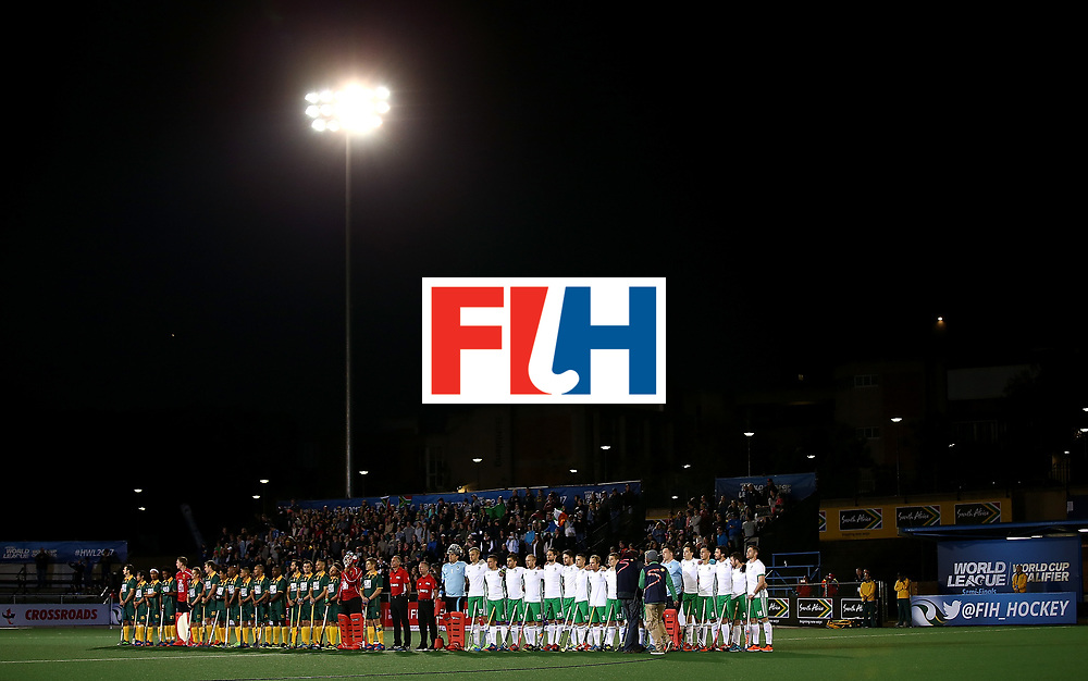 JOHANNESBURG, SOUTH AFRICA - JULY 09:  Teams line up for the national anthems during day 1 of the FIH Hockey World League Semi Finals Pool B match between South Africa and Ireland at Wits University on July 9, 2017 in Johannesburg, South Africa.  (Photo by Jan Kruger/Getty Images for FIH)